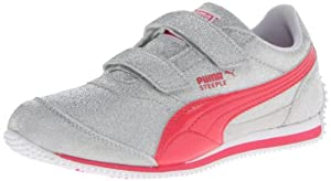 PUMA Steeple All Over Glitter V Sneaker (Toddler/Little Kid),Puma Silver/Paradise Pink,9 M US Toddler
