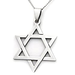 Stainless Steel Star of David Pendant Religious Necklace Jewish Jewelry 18 Inch Chain Included / Bar Mitzvah Gifts Bat Mitzvah Gifts Jewish Star Necklace / Gifts for teens / gifts for men gifts for him / gifts for women gifts for her