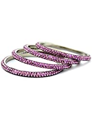 Mychamakbangles Lilac / Violet 3 Line Lac Crystal Metal Frame Bangle Bracelet (set Of 4 Pcs)