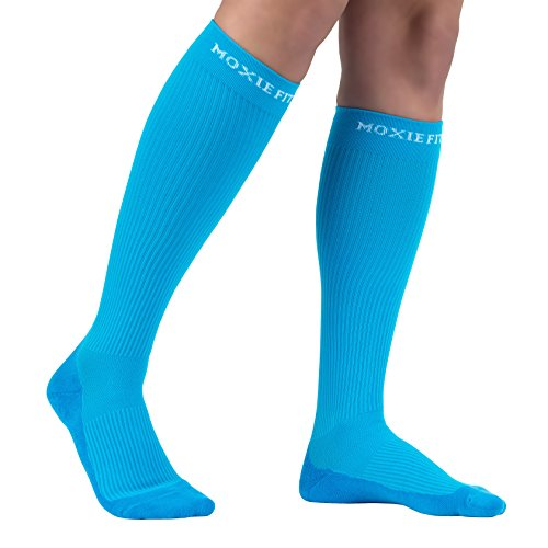 Authentic Graduated Compression Socks for Sports, Running, and Recovery (M-L, Blue)