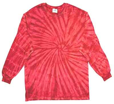 Tie Dye SPIDER RED Retro Vintage Groovy Adult Long Sleeve Tee Shirt T-Shirt