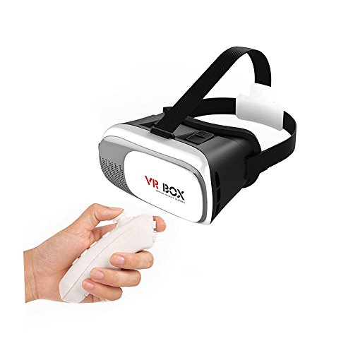 """VR Box,Show Wish Enhanced Version VR Virtual Reality Headset 3D Video Movie Game Glasses + Bluetooth Remote Control for Android iOS Smartphone 4.7""""-6.0,Adjustable Focal Distance Pupil Distance"""