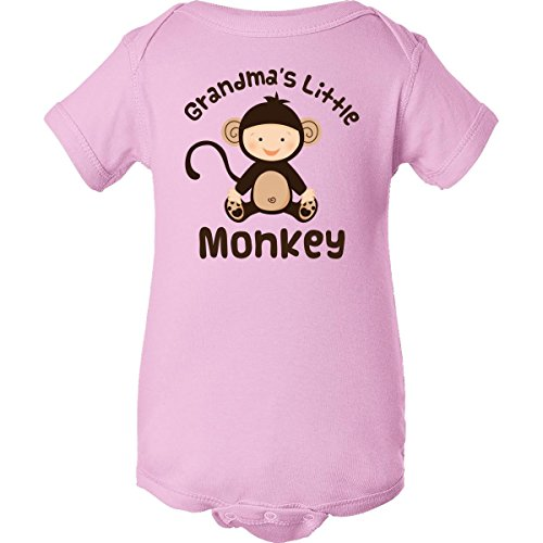 Inktastic Unisex Baby Grandma'S Little Monkey Infant Creeper Newborn Pink front-674485