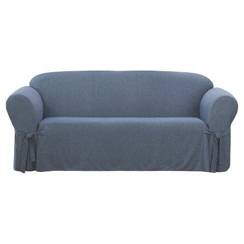 Sure Fit Sofa One Piece Slipcover - Denim Indigo Blue