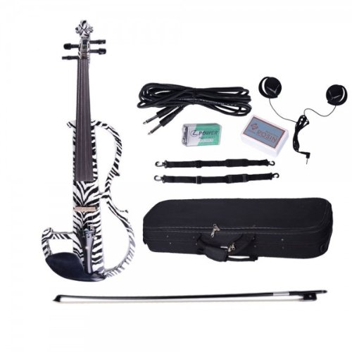 Dsg-1302 4/4 Zebra Design Basswood Electric Violin With Rosin Bow Case Headphone And Line-2Pack