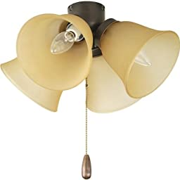 Progress P2643-20T Airpro - Four Light Universal Fan Kit, Antique Bronze Finish with Alabaster Glass