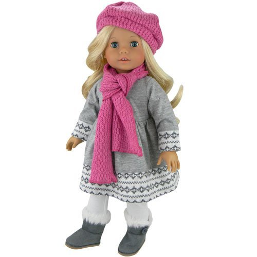 doll-clothes-4-pc-outfit-fit-for-18-inch-american-girl-dolls-more-grey-fair-isle-style-doll-sweater-