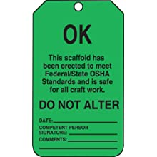 "Accuform Signs TSS103PTP OK Tag, ""This Scaffold Meets OSHA Standards"" Front, Blank Back, Green RP-Plastic (Pack of 25)"