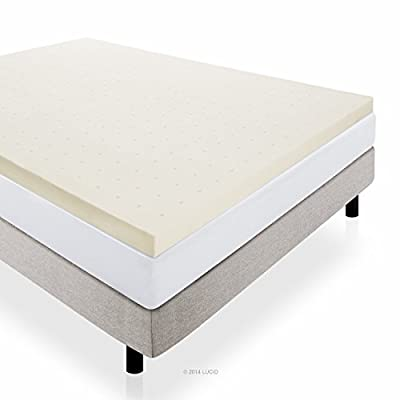 LUCID 3 Inch Ventilated Memory Foam Mattress Topper 3-Year Warranty by Lucid