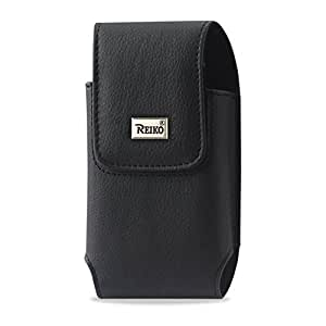 Reiko 5.12x2.91x0.94 inches (XXL Size) Leather Vertical Pouch With Metal Logo-Black Belt Clip for XXL size phones - Retail Packaging - BLACK