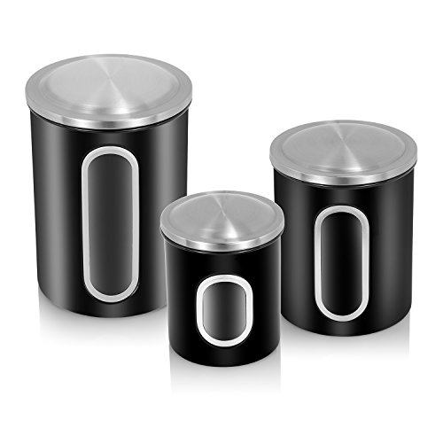 ATECKING 3-Piece Glass Window Canister Set,Stainless Steel Fingerprint-Proof with Airtight Lid for Bulk Food Storage & Organization, Black (Galley Kitchen Cabinets compare prices)