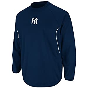 MLB New York Yankees Therma Base Featherweight Tech Fleece, Navy White by Majestic