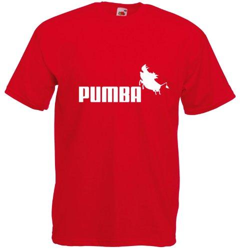 Pumba, Puma inspirert Mann Gedruckt T-Shirt - rot/ weiß L= 106/111 cm