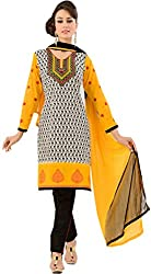 Tangerines Tfw Yellow Color Unstitched Salwar Kameez Dress Material