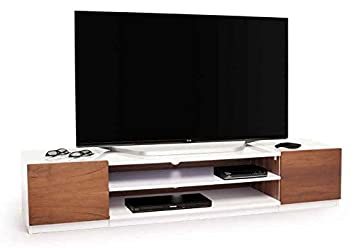 69 in. TV Stand in Walnut and White