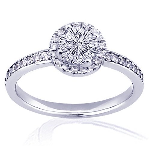 1.30 Ct Round Cut Halo Diamond Engagement Ring
