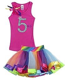 Bubblegum Divas Little Girls\' 5th Birthday Shirt Rainbow Tutu Outfit 5-6