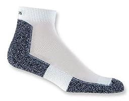 Thorlo Men\'s Lite Running Mini Crew Sock Level 1 lrmxm Medium White/Black