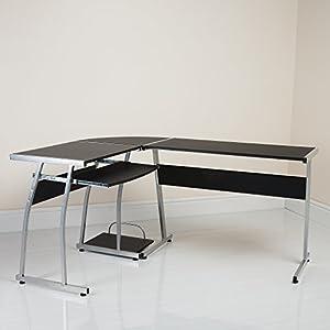 L Shape Corner Computer Desk Table PC Workstation Home Office Furniture (L Shape Black)