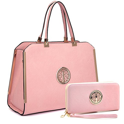 Image of MMK collection Women Fashion Matching Satchel handbags with wallet~Designer Purse for Women ~Multi Pocket ~ Perfect Women Purse and wallet~ Beautiful Designer Handbag Set (pink)