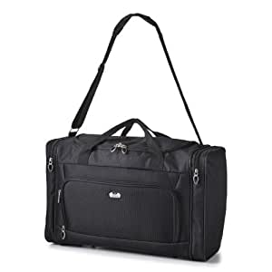 5 Cities® world's lightest (only 0.5kg!) Cabin Size holdall -fits Ryan Air/Easy Jet 55 x 40 x x 20 -flight bag. Actual dimension 54x30x20, Massive 32l Capacity (Black 9980)