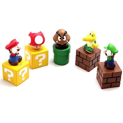 New Super Mario Bros Luigi Yoshi 5 Figure Set 5.3CM (Gameboy Advance Ipod 5 Case compare prices)