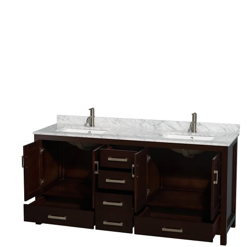Wyndham Collection Sheffield 72 Inch Double Bathroom Vanity In Espresso White Carrera Marble