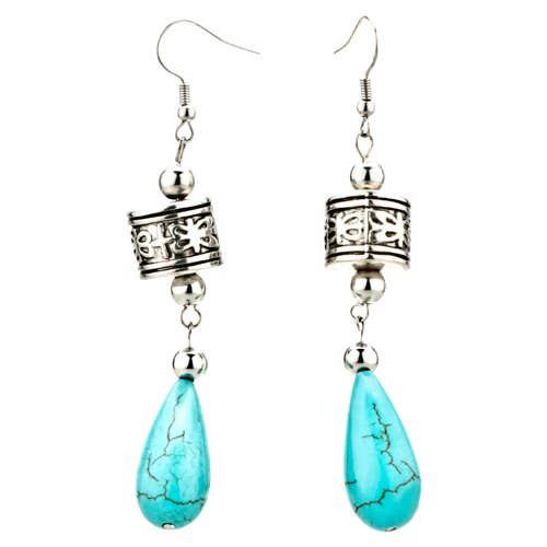 Pugster Drop Turquoise Silver Dangle Earrings