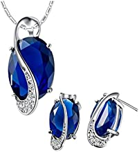 Ijewellery Collar zafiro azul real de cristal Swarovski Elements Teardrop Pendientes Joyer?ªa Set