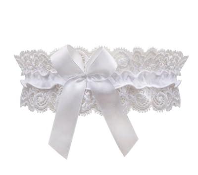 Sexy Hochzeitsstrumpfband in weiß mit Schmuckschleife von Lupoline