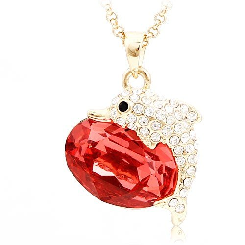 Gold Tone Red Swarovski Element Crystal the Dolphins Design Necklace for Girlfriend Gift