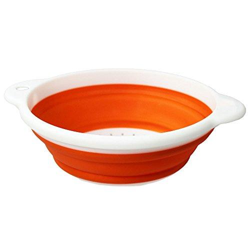 COM-FOUR® - Colino pieghevole in plastica, colore: bianco/arancione Rund - 1 Stück