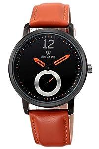 Skone Mens Business Casual Luxury Fashion Orange Leather Quartz Watches