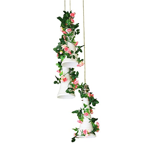 8ft Rose Garland Pack of 5 Artificial Rose Vine Silk Flower Garland Green Leaf Vine Garland Home Decor Wedding Decoration (pink 2)