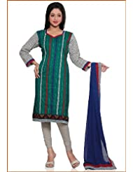 Utsav Fashion Women's Green Cotton Readymade Churidar Kameez-Small - B015UDE74Q