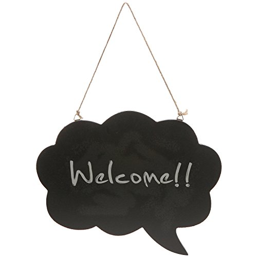 Comic Style Thought / Comment Bubble Shaped Wood Hanging Blackboard / Chalk Board Memo Message Sign