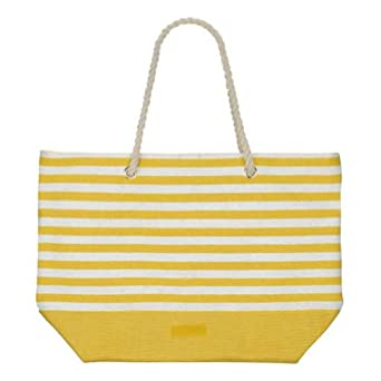 Chic Oversized Nautial Stripe Beach Tote Bag Yellow