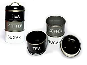 Retro Stacking Black Tea Coffee Sugar Storage Canisters Jars Kitchen Home