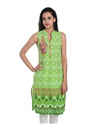 Geroo Women Cotton Hand Block Printed Green Jaipuri Sleevless Kurta With Embroiderey With Sleeve Option Given