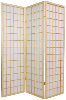 Dressing Privacy Screen Short Size - 5ft. Window Pane Japanese Design Room Divider - 3 Panel Natural