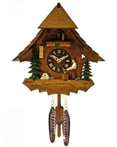 River City Clocks 18-10 Chalet Style One Day Cuckoo Clock, Woodchopper Chops Wood In The Forest, 10-Inch Tall