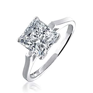 Bling Jewelry Sterling Silver Ring 1.59ct (7mm) Princess-Cut CZ Solitaire Bridal Engagement Ring - Size 9 by Bling Jewelry
