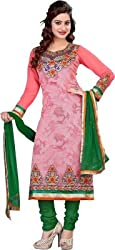 Cool women's Georgette Embroderied Unstitched Dress Material -1042_Pink_Freesize