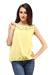 Femme India Women Poly Crepe Yellow Peter Collar Crystal Top