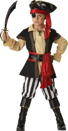 InCharacter Costumes, LLC Boys 2-7 Pirate Scoundrel Vest Set, Black/Red, 4