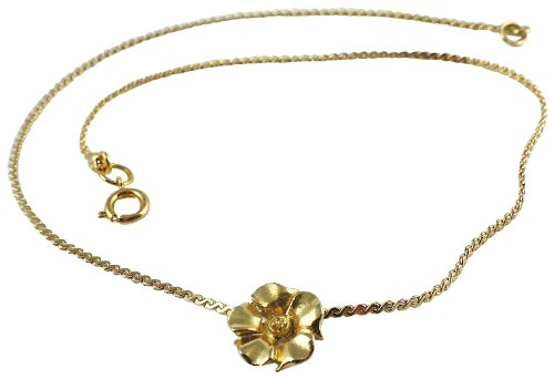 Global Stock Surplus 18k Gold Plated/flat Roped Chain Necklace With Flower Medalion/323/made In UK