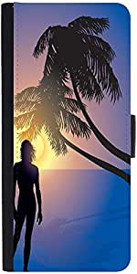 Snoogg Tropical Sunrise Graphic Snap On Hard Back Leather + Pc Flip Cover Sam...