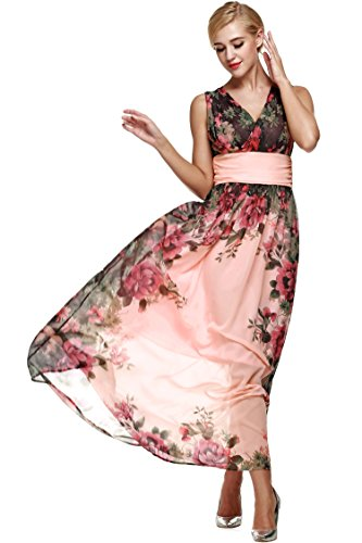 ANGVNS-Women-Floral-Print-Chiffon-Long-Dress-with-Necklace