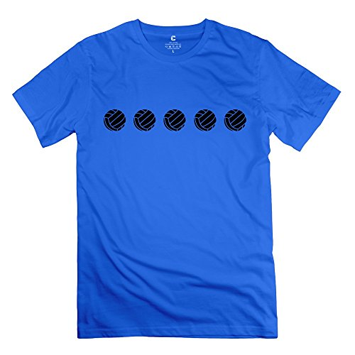 Tasy 100% Cotton Men'S Star Volleyball 1 T-Shirt - S Royalblue