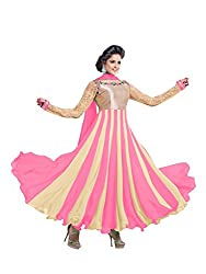 Fstore baby pink embroidered georgette semistitched salwar suit